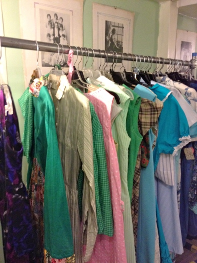 Holli's rack of vintage dresses