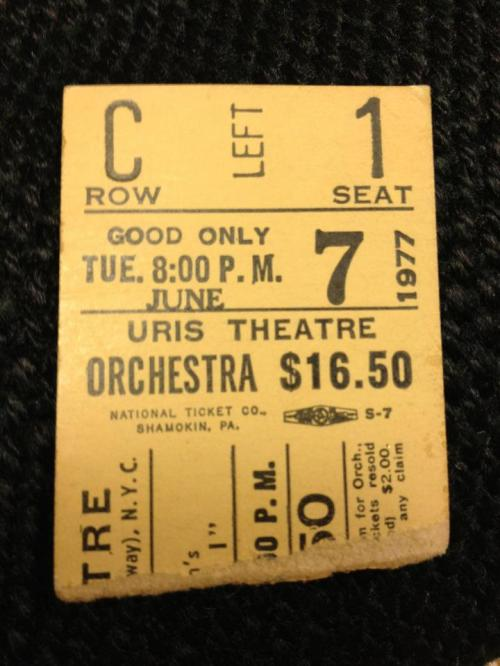 Uris Theatre the King and I ticket stub