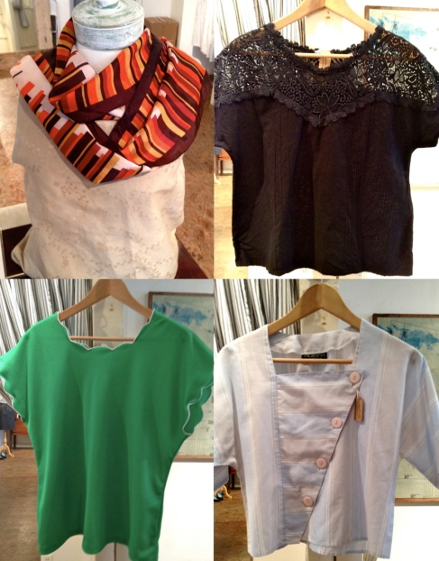 vintage scarf and tops